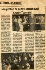 Scan inauguration du centre Toussaint 1983